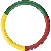 Majic Rasta Steering Wheel Cover - Universal Fit- Comfortable under all weather conditions (GREEN/RED/YELLOW)