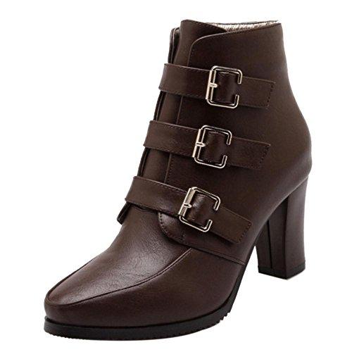 COOLCEPT Damen Mode Stiefel Zipper Brown