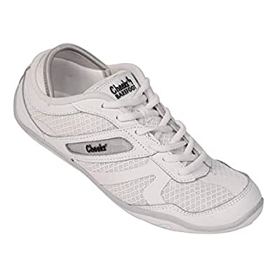 CHEEKS Barefoot Trainers by Tony Little with Leather, Breathable Mesh Upper, Padded Arch Support, Molded Eva Insole and Flexible Rubber Out-Soles - White - Size 6