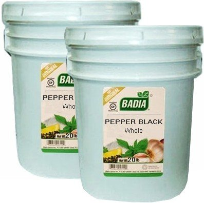 Badia Pepper Black Whole 20 lbs Pack of 2 by Badia