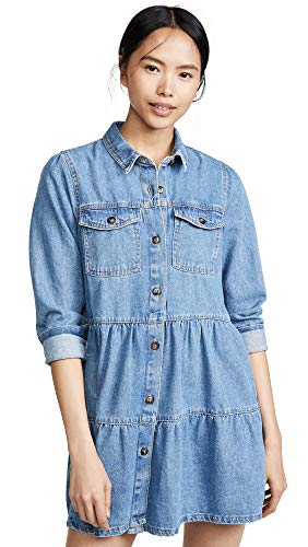 Free People Women's Nicole Denim Shirtdress, Indigo, Blue, Small