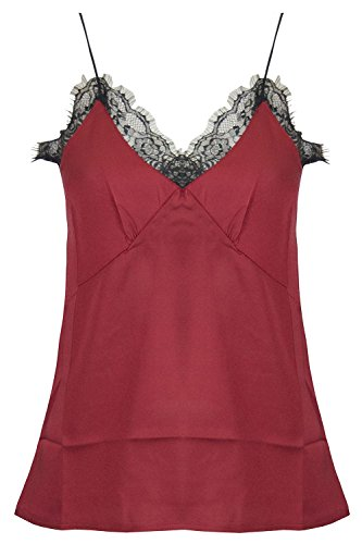 dies V Neck Nightwear Lace Mesh Trim Cami Thin Strappy Blouse Vest Top (Lace Trim Mesh Cami)