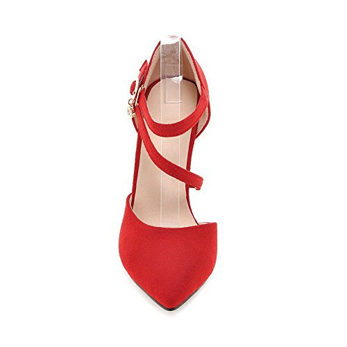 Pointed WeenFashion Women's Spikes Closed Frosted Toe Shoes Red Pumps Buckle Solid Stilettos nttxraw