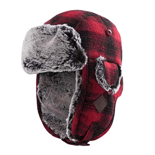 ZXUE Orejeras Acolchadas cálidas de Invierno, además de Gorra de Nieve Cap para Exterior a Prueba de Viento y Cuadros de Terciopelo (Color : A)