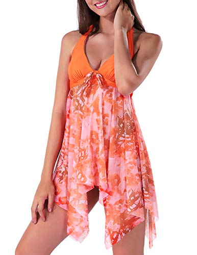 (Ladies Plus Size Halter Swimdress Swimsuit Print Swimwear Two Piece Orange XXL)