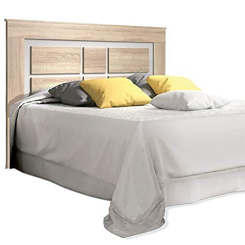 duehome HomeSouth - Cabezal para Cama de Matrimonio, cabecero Modelo Lara, Color Cambria y Blanco, Medidas 160 cm (Ancho) x 119,3 cm (Alto) x 3,8 cm (Fondo)