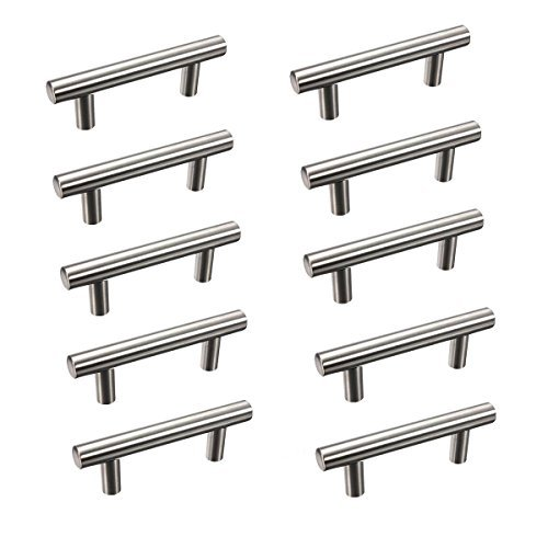 KINGSO 10pcs 2.52'' Hole Spacing Hollow Stainless Steel Kitchen Door Cabinet T Bar Handle Pull Knobs Hardware Set 4'' Overall Length