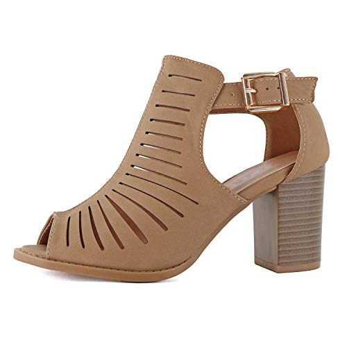Womens Strappy Cut Out Perforated Open Toe Shoe Block Chunky Mid Heel Comfortable Sandals (8.5 M US, Tan)