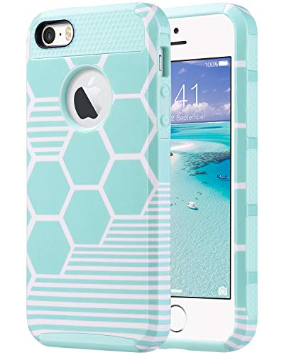 ULAK iPhone SE Case, iPhone 5S Case,iPhone 5 Case, Slim Fit Protection Case Hybrid Scratch Resistant Hard Back Cover Shock Absorbent TPU Bumper Protective Case, Honey Comb Stripes