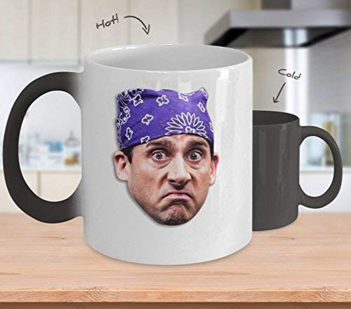 wergod Prison Mike Coffee Mug Cup Michael Scott Dwight Kelly Jim Gift for Dund Funny The Office Merchandise Accessories Sticker Merch Shirt Heating, White Change Black