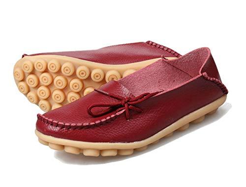 Mesdames Pour Plates Rouge Souples Casual Mocassins Chaussures Femmes Vin Ballerines Pq1wWxPan