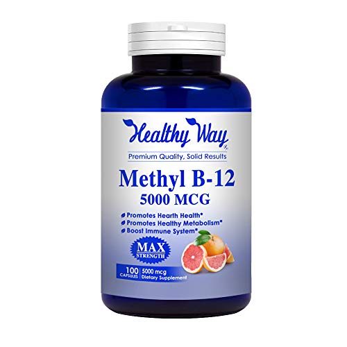 Healthy Way Vitamin B12 - 5000 MCG - Helps Boost Natural Energy, Brain & Heart Function - NON-GMO 100% Money Back Guarantee!