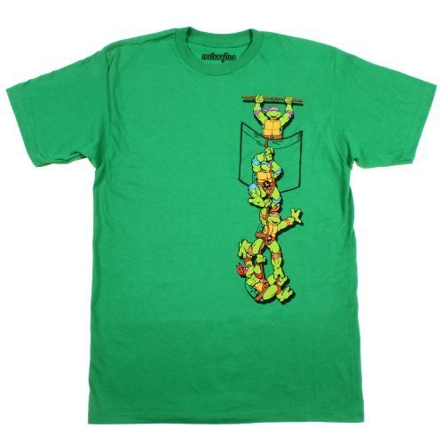 Teenage Mutant Ninja Turtles Pocket Adult Green T-Shirt (Adult XX-Large)