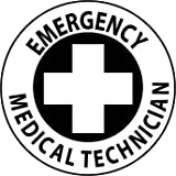 NMC HH40 2'' x 2'' PS Vinyl Hard Hat Emblem w/Legend: ''Emergency Medical Technician'', 12 Packs of 25 pcs