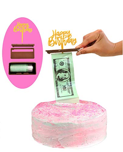 Cake Money Pull Out Kit, Money Cake Dispenser Box, Surprise Box25, Money Cake Set includes 2 plastic rolls (50 connected pockets per roll) and Happy Birthday Cake Topper