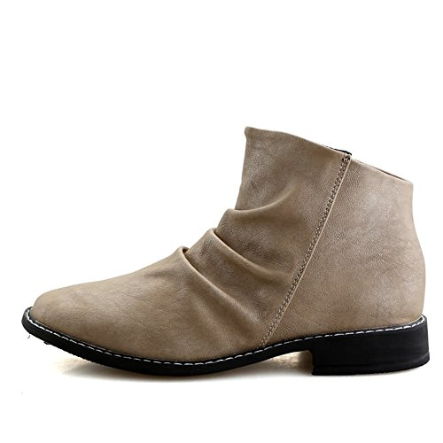 Vamp Heel Oxfords Ankle On Pull Boots Block Cream Shoes Men's Shoes Toe Leather Slouch coloured Round Pqf0Ez