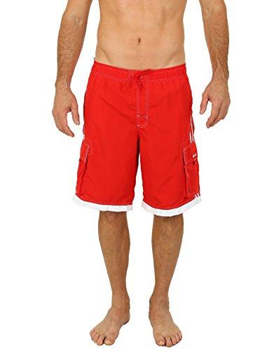 UZZI Men's Relax Long Cargo Swim Trunks (Large, Red)
