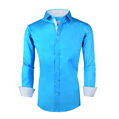 Mens S/s Shirt - Alex vando Mens Casual Button Down Shirts Regular Fit Long Sleeve Cotton Dress Shirt(Turquoise,S)