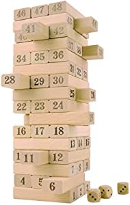 CoolToys Timber Tower Wood Block Stacking Game – Number Match Playset (48 Pieces)