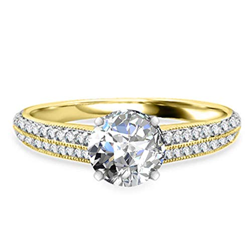 2.02 Ct Round Cut Solitaire Moissanite 14K Yellow Gold Wedding Engagement...