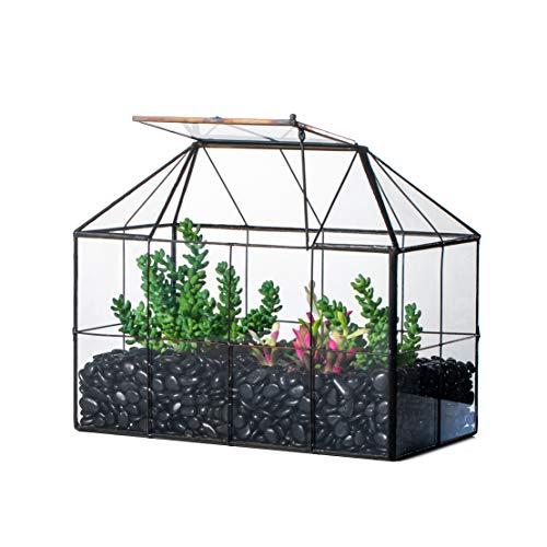 NCYP Reinforced Glass Terrarium Geometric, Black Grid House Shape Decor, Succulents Cacti Air Plants Box Planter, Miniature Container, Modern Tabletop Centerpiece (No Plants) (Terrarium Large)