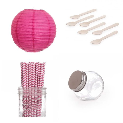 Dress My Cupcake Lanterns Dessert Table Party Kit, Includes Candy Favor Jars with Hot Pink Fuchsia Chevron Straws