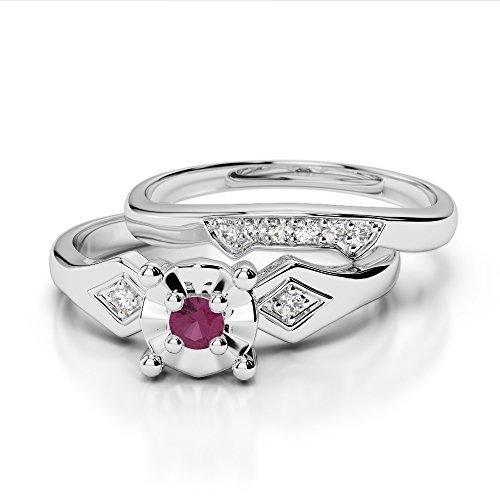 G-H/VS 0,10ct Coupe ronde sertie de diamants Rubis et diamants blancs et bague de fiançailles en platine 950Agdr-1058