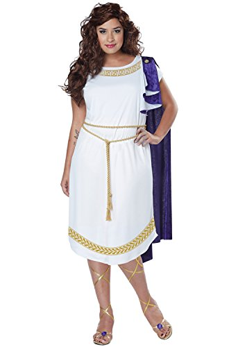 [California Costumes Women's Plus Size Grecian Toga Dress, White/Purple, 3X] (Grecian Sandals Costume)