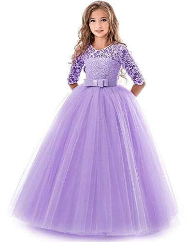 Girls Vintage Floral Lace 3/4 Sleeves Floor Length Party Fall Evening Formal Bridesmaid Prom Dance Gown Purple 11-12 Years -