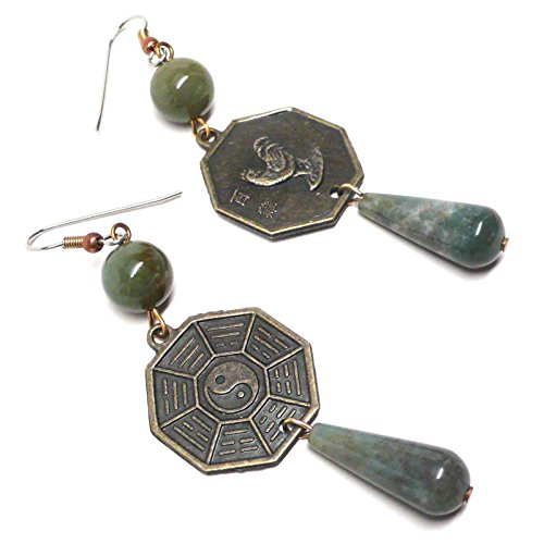 Year Of The Rooster I Ching Zodiac Chinese Bagua Trigram Coin Gemstone Earrings