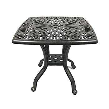 Patio End Table 21 Square Cast Aluminum Outdoor Furniture Desert Bronze
