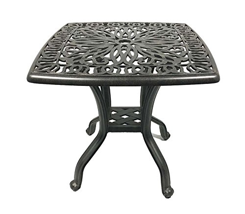 Patio End Table 21 Square Cast Aluminum Outdoor Furniture Desert Bronze (Square Furniture Cast Aluminum Patio)