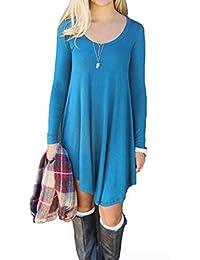 NuoReel Women's Long Sleeve Casual Loose T-Shirt Dress