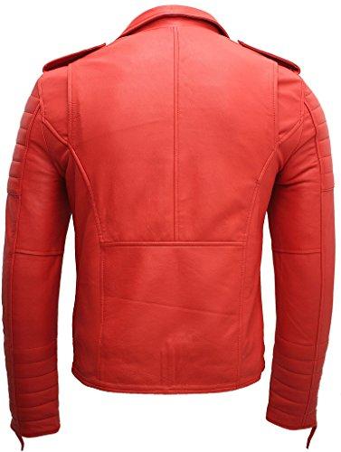 Herren Rot Slim Fit Kreuz Zip Jahrgang Brando Leder Biker Jacke