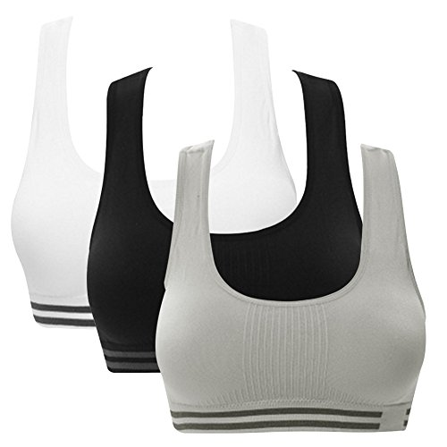 Women's Sports Bra Seamless High Impact Support Racerback Workout Yoga Bras (M Fit Cup 32A/32B/32C/32D/34A/34B, 3 Pack(Black+White+Grey))