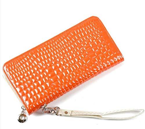 SP Stone Embossed Organizer Clutch Bag Patent Leather Women's Wallet -Orange (Orange Patent Leather Clutch)