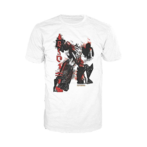 Transformers Fall of Cybertron Megatron Rain Official Men's T-Shirt (White) (X-Large)