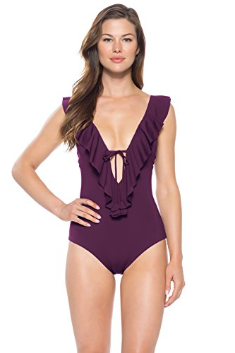 - Becca by Rebecca Virtue Women's Ruffle Plunge One Piece Swimsuit Swimsuit Merlot M
