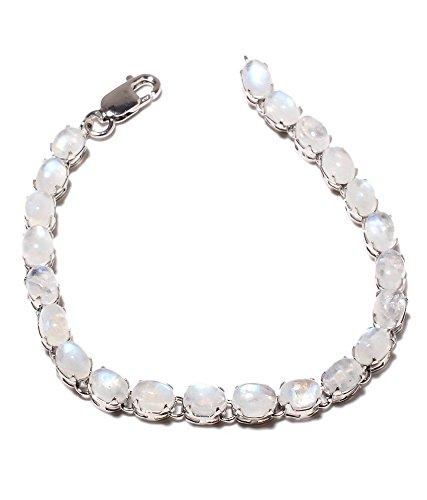 Be You plaqué blanc élégant arc-en-pierre de lune réelle pierres précieuses rhodium bracelet en argent sterling pour les femmes