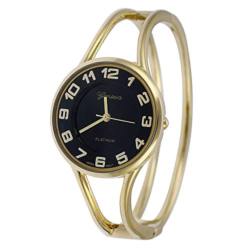 Gold Round Face Black Dial Metal Double Band Fashion Women's Bangle Cuff Watch 5215 ()