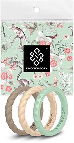 Knot Theory Stackable Silicone Wedding Rings for Women - Thin Slim Bands in Green Earth Tones - Kindness 3-Pack Size 8 - Expert Color Combo - Ultra Comfortable Elegant Gift for Wife