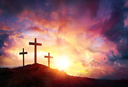 Laeacco Jesus Christ Cross Sunrise Photography Background 7x5ft Worship Three Crosses Hill Bokeh Glite Cemetery Cross Church Christmas Easter Crucifiction God Sunset Scripture Cross Horizon