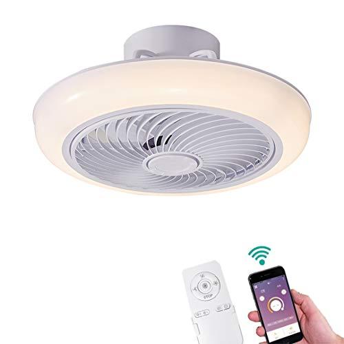 YUNZI Ventiladores de Techo con Luces Luz LED App y Control Remoto Regulable Ventilador de Techo Invisible Lámpara de…