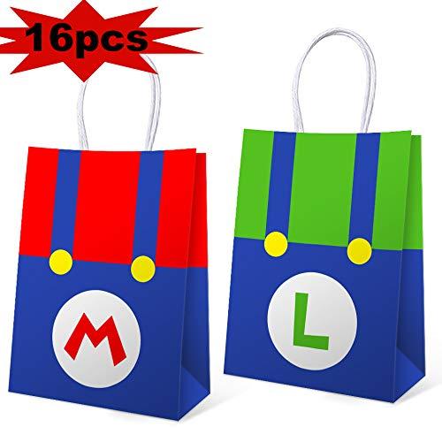 Mario Birthday Supplies (16 PCS Super Mario Bros Birthday Party Supplies Birthday Favor Gift Bags for Kids, Super Mario Bros Themed Party Supplies Favors Birthday Party Decorations, 5.9 * 3.2 * 8.3)