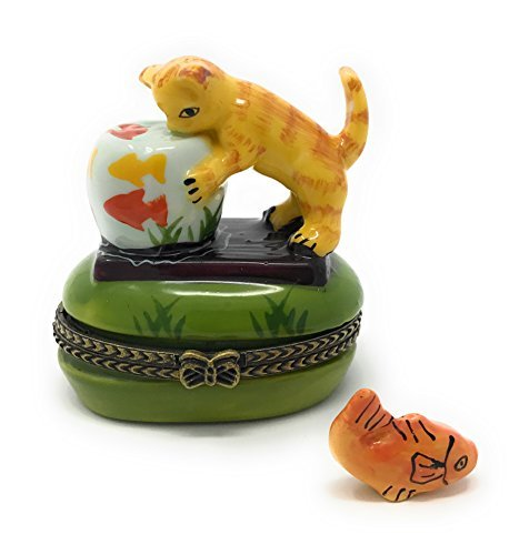 Kitty Cat Watching Fish Bowl Porcelain Trinket Box with Tiny Fish Inside, 2.25 Inches (Kitty Trinket Box)