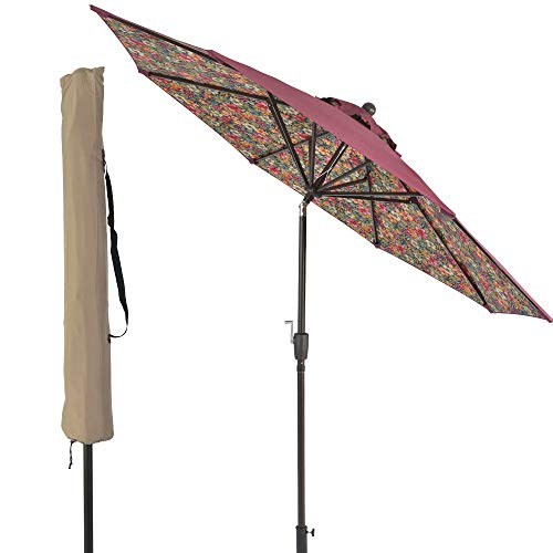 SUNLONO 9FT Patio Umbrella Outdoor Table Umbrella with 8 Sturdy Ribs and Inside Flower Pattern (Dark Red) - Floral Patio Umbrella
