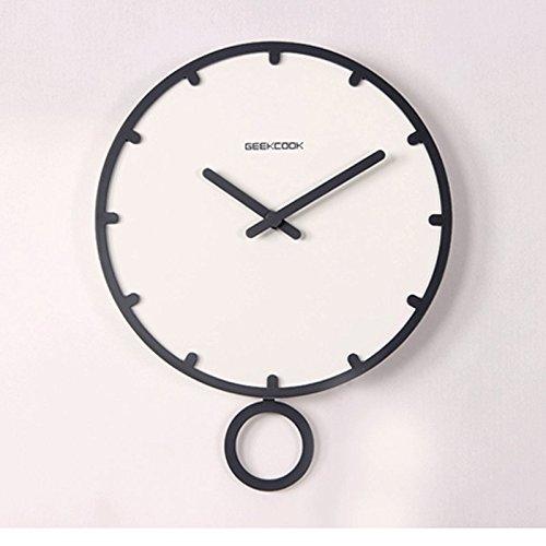 スイングモダンファッションウォッチデコレーションクォーツ時計シンプルなクリエイティブウッドパーラーの壁時計静かなベッドルームの時計 (色 : 白) B07DSCWVQW白