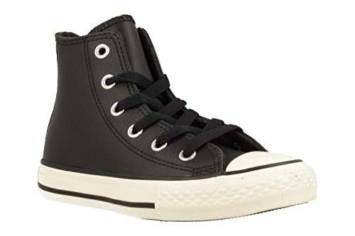 Converse Chuck Taylor All Star Thermal Hi Black Leather Junior Trainers Schwarz