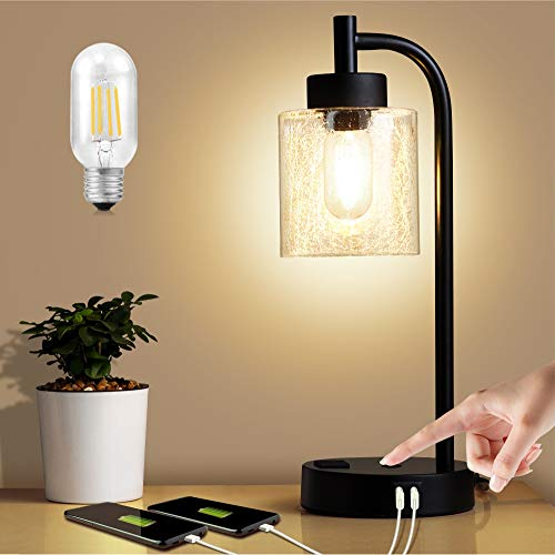 ZEEFO Touch Lamps, Dimmable Glass Lampshade Design Table Lamp Built-in Dual USB Ports and 3- Prong AC Outlet Modern…