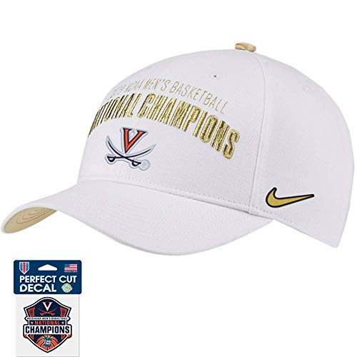 Official Virginia Cavaliers 2019 NCAA Men's Basketball National Champions Coaches Locker Room L91 Adjustable Hat - White - and Championship Decal